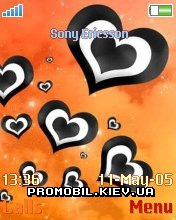 Тема для Sony Ericsson 176x220 - Black Hearts